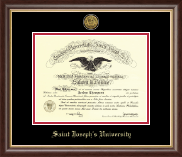 Saint Joseph's University in Pennsylvania Diploma Frame - Gold Engraved Medallion Diploma Frame in Hampshire