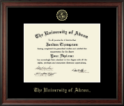 The University of Akron Diploma Frame - Gold Embossed Diploma Frame in Studio
