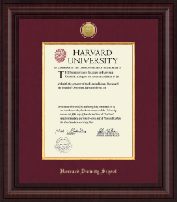 Harvard Divinity School Diploma Frames Church Hill Classics