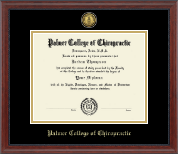 Palmer College of Chiropractic Iowa Diploma Frame - Gold Engraved Medallion Diploma Frame in Signature