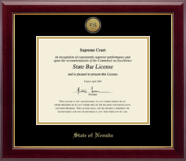 State of Nevada Certificate Frame - Gold Engraved Medallion Certificate Frame in Gallery