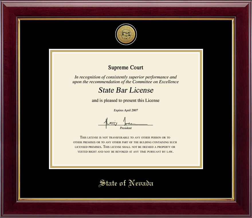 State Of Nevada Gold Engraved Medallion Certificate Frame In Gallery