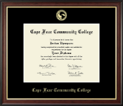 Cape Fear Community College Diploma Frame - Gold Embossed Diploma Frame in Studio Gold