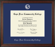 Cape Fear Community College Diploma Frame - Silver Embossed Diploma Frame in Studio