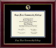 Cape Fear Community College Diploma Frame - Gold Embossed Diploma Frame in Gallery