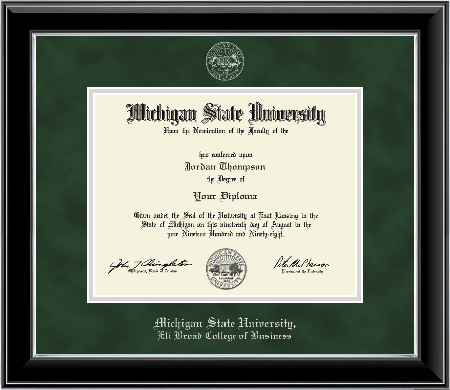 Michigan State University Silver Embossed Diploma Frame in Onyx ...