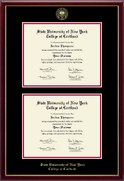 State University of New York Cortland Diploma Frame - Double Diploma Frame in Galleria