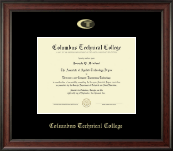 Columbus Technical College Diploma Frame - Gold Embossed Diploma Frame in Studio