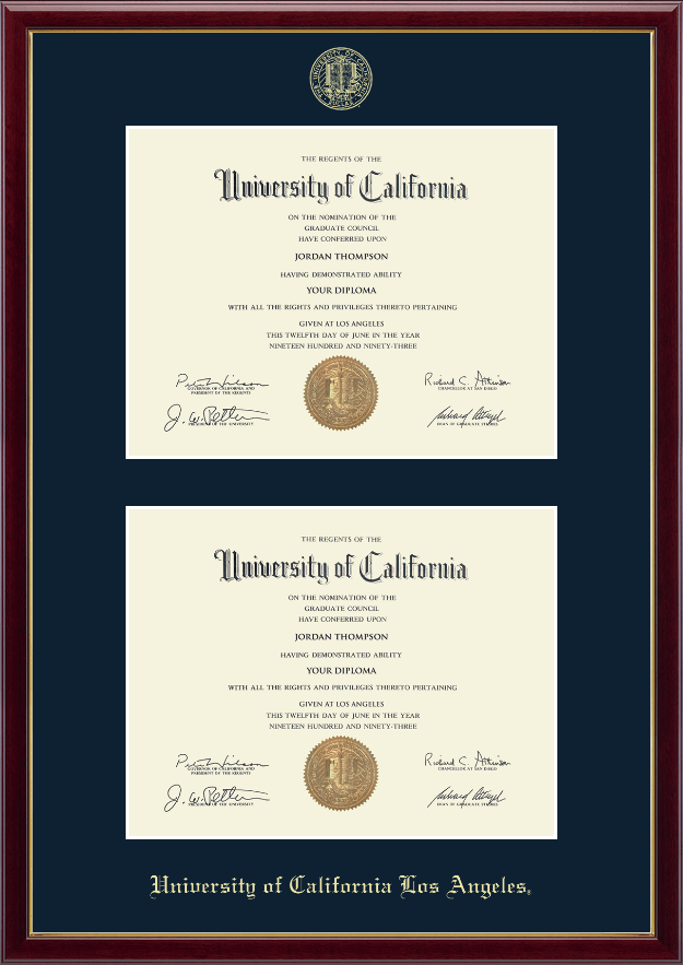 University Of California Los Angeles Double Diploma Frame