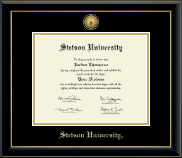 Stetson University Diploma Frame - Gold Engraved Medallion Diploma Frame in Onyx Gold