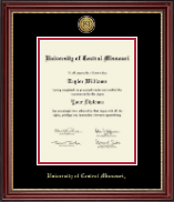 University of Central Missouri Diploma Frame - Gold Engraved Medallion Diploma Frame in Kensington Gold
