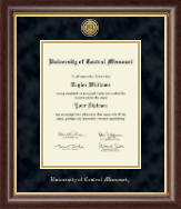 University of Central Missouri Diploma Frame - Gold Engraved Medallion Diploma Frame in Hampshire