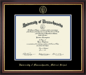 University of Massachusetts Medical School Diploma Frame - Gold Embossed Diploma Frame in Regency Gold