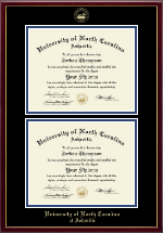 University of North Carolina Asheville Diploma Frame - Gold Embossed Double Diploma Frame in Galleria