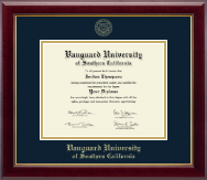 Vanguard University of Southern California Diploma Frame - Gold Embossed Diploma Frame in Gallery