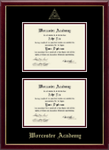 Worcester Academy Diploma Frame - Double Diploma Frame in Galleria