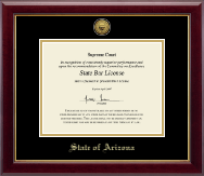State of Arizona Certificate Frame - Gold Engraved Medallion Certificate Frame in Gallery