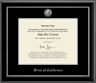 State of California Certificate Frame - Silver Engraved Medallion Certificate Frame in Onyx Silver