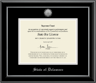 State of Delaware Certificate Frame - Silver Engraved Medallion Certificate Frame in Onyx Silver