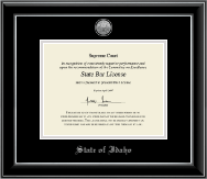 State of Idaho Certificate Frame - Silver Engraved Medallion Certificate Frame in Onyx Silver