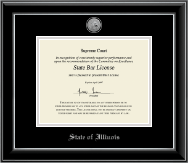 State of Illinois Certificate Frame - Silver Engraved Medallion Certificate Frame in Onyx Silver