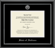 State of Indiana Certificate Frame - Silver Engraved Medallion Certificate Frame in Onyx Silver