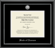 State of Kansas Certificate Frame - Silver Engraved Medallion Certificate Frame in Onyx Silver