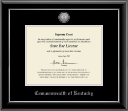 Commonwealth of Kentucky Certificate Frame - Silver Engraved Medallion Certificate Frame in Onyx Silver