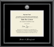 State of Maryland Certificate Frame - Silver Engraved Medallion Certificate Frame in Onyx Silver
