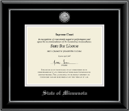 State of Minnesota Certificate Frame - Silver Engraved Medallion Certificate Frame in Onyx Silver