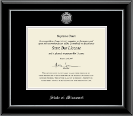 State of Missouri Certificate Frame - Silver Engraved Medallion Certificate Frame in Onyx Silver