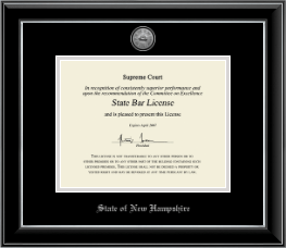 State of New Hampshire Certificate Frame - Silver Engraved Medallion Certificate Frame in Onyx Silver