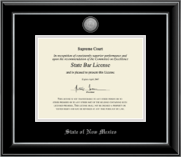 State of New Mexico Certificate Frame - Silver Engraved Medallion Certificate Frame in Onyx Silver
