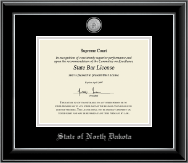 State of North Dakota Certificate Frame - Silver Engraved Medallion Certificate Frame in Onyx Silver
