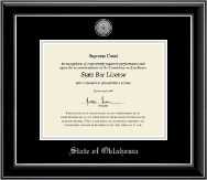 State of Oklahoma Certificate Frame - Silver Engraved Medallion Certificate Frame in Onyx Silver