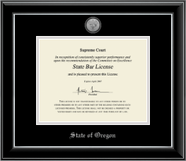 State of Oregon Certificate Frame - Silver Engraved Medallion Certificate Frame in Onyx Silver