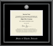 State of Rhode Island Certificate Frame - Silver Engraved Medallion Certificate Frame in Onyx Silver