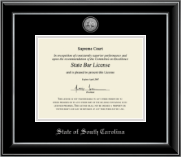 State of South Carolina Certificate Frame - Silver Engraved Medallion Certificate Frame in Onyx Silver