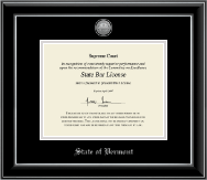 State of Vermont Certificate Frame - Silver Engraved Medallion Certificate Frame in Onyx Silver