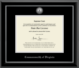 Commonwealth of Virginia Certificate Frame - Silver Engraved Medallion Certificate Frame in Onyx Silver