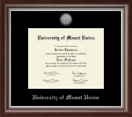 University of Mount Union Diploma Frame - Silver Engraved Medallion Diploma Frame in Devonshire