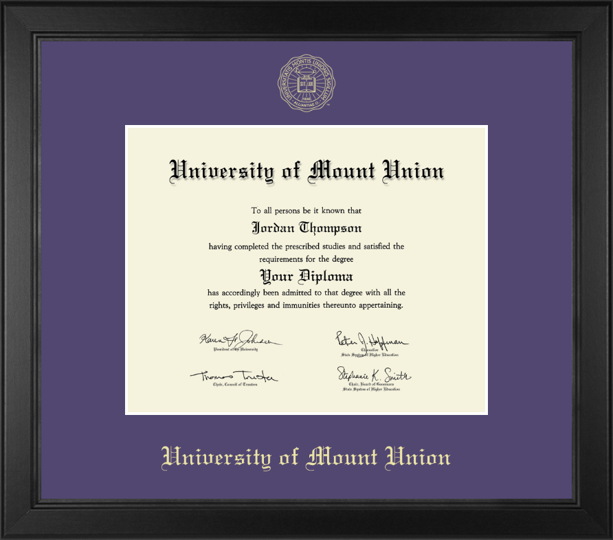 university of mount union gold embossed diploma frame in arena  university of mount union gold embossed diploma frame in arena item 211745 from university store