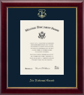 Gold Embossed Air National Guard Certificate Frame - Vertical - 8 x 10