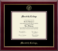 Meredith College Diploma Frame - Gold Embossed Diploma Frame in Gallery