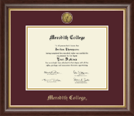 Meredith College Diploma Frame - Gold Engraved Diploma Frame in Hampshire