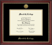 Meredith College Diploma Frame - Gold Engraved Diploma Frame in Kensington Gold