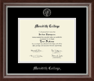 Meredith College Diploma Frame - Silver Embossed Diploma Frame in Devonshire