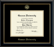 Gannon University Diploma Frame - Gold Embossed Diploma Frame in Onyx Gold