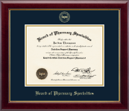 Board of Pharmacy Specialties Certificate Frame - Gold Embossed Certificate Frame in Gallery