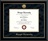 Strayer University Diploma Frame - Gold Engraved Diploma Frame in Onyx Gold